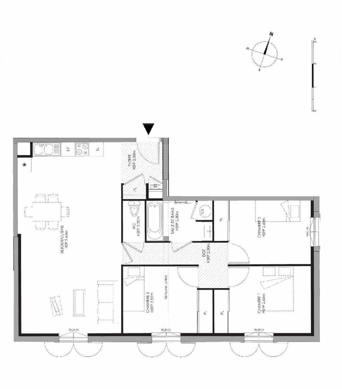 Plan 3.105, appartement neuf type T4 au 1er étage, faisant 81m² du programme neuf LE DOMAINE SAINT-LOUIS à Chalon-sur-Saône.