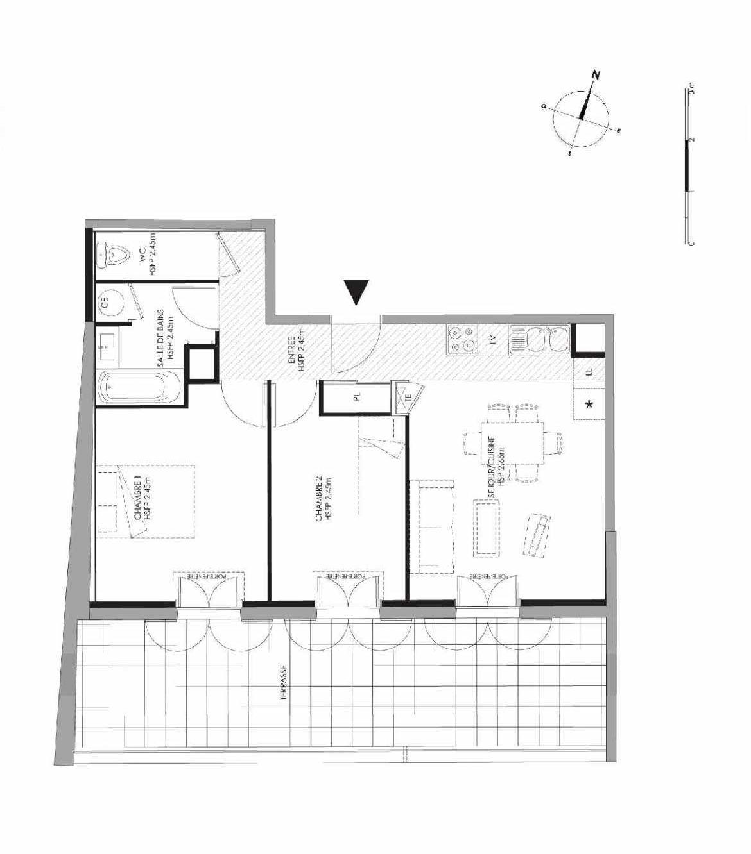 Plan 3.106, appartement neuf type T3 au 1er étage, faisant 55m² du programme neuf LE DOMAINE SAINT-LOUIS à Chalon-sur-Saône.