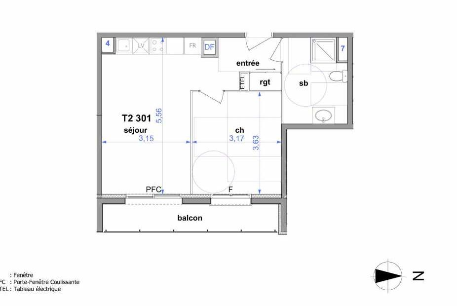 Plan 301, appartement neuf type T2 au 3ème étage, orienté Est faisant 41m² du programme neuf Au fil de l'O1 à Maromme.