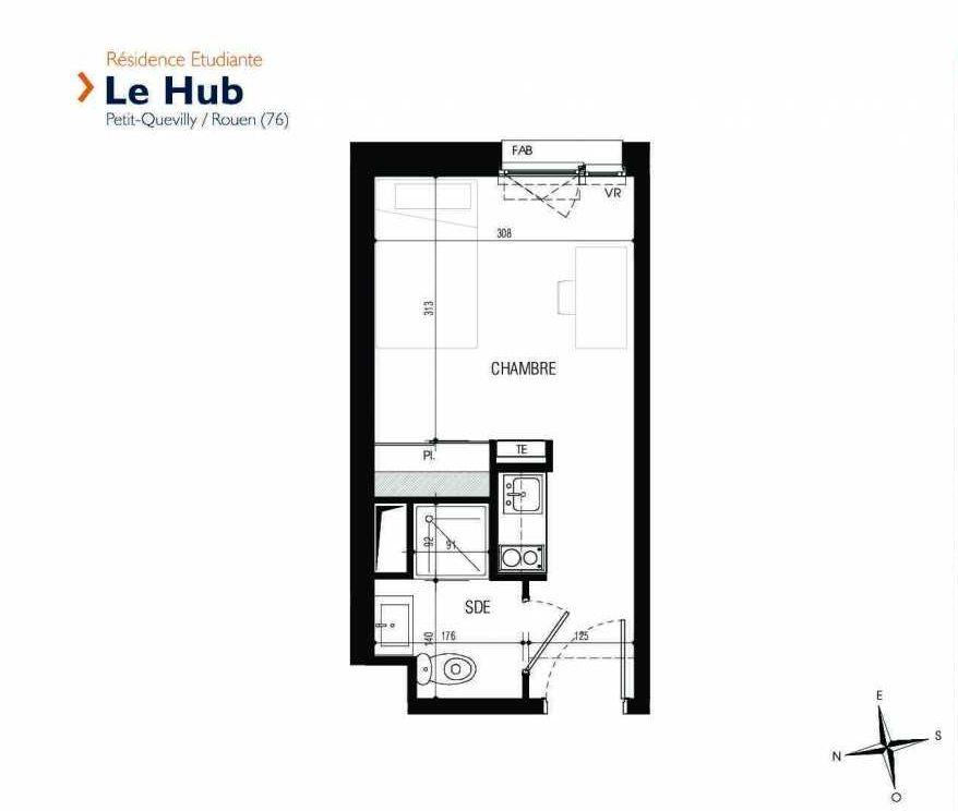 Plan 301, appartement neuf type T1 au 3ème étage, faisant 18m² du programme neuf Le Hub à Le Petit-Quevilly.