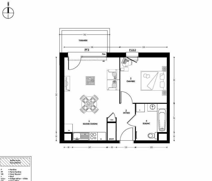 Plan 301, appartement neuf type T2 au Rez de chaussée, orienté Nord faisant 43m² du programme neuf RESIDENCE CARMINA BÂTIMENT C à Saint-Baldoph.