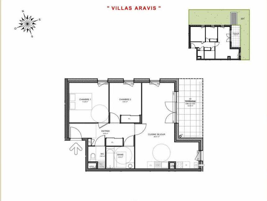 Plan 301, appartement neuf type T3 au Rez de jardin, orienté Est faisant 63m² du programme neuf Villas Aravis à Saint-Pierre-en-Faucigny.