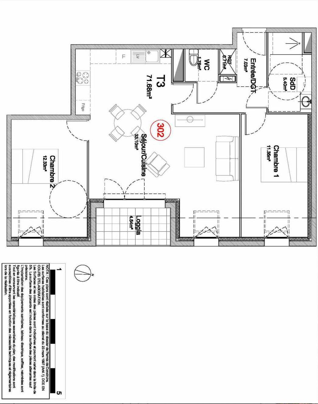 Plan 302, appartement neuf type T3 au 3ème étage, orienté Est faisant 72m² du programme neuf 194 OUEST AVENUE à Déville-lès-Rouen.