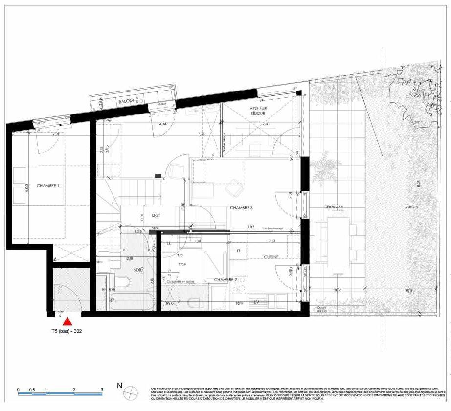 Plan 302, appartement neuf type T5 au Rez de chaussée, orienté Sud faisant 107m² du programme neuf 2 PRIEURE BATIMENT 3 à Saint-Germain-en-Laye.
