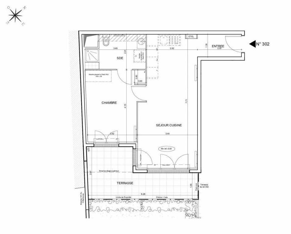 Plan 302, appartement neuf type T2 au Rez de jardin, orienté Sud faisant 47m² du programme neuf Arboria à Drancy.