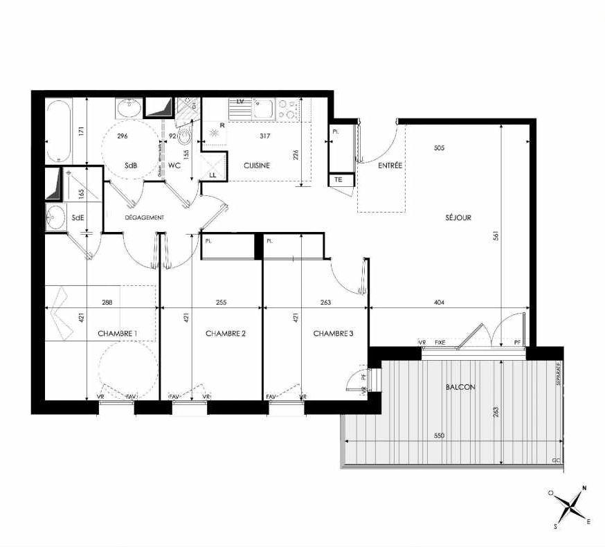 Plan 302, appartement neuf type T4 au 3ème étage, orienté Nord faisant 82m² du programme neuf Green Park à Castanet-Tolosan.