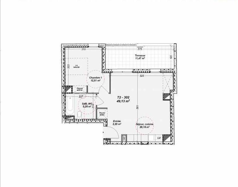 Plan 302, appartement neuf type T2 au 3ème étage, orienté Nord faisant 49m² du programme neuf Le Dôme à Marseille.