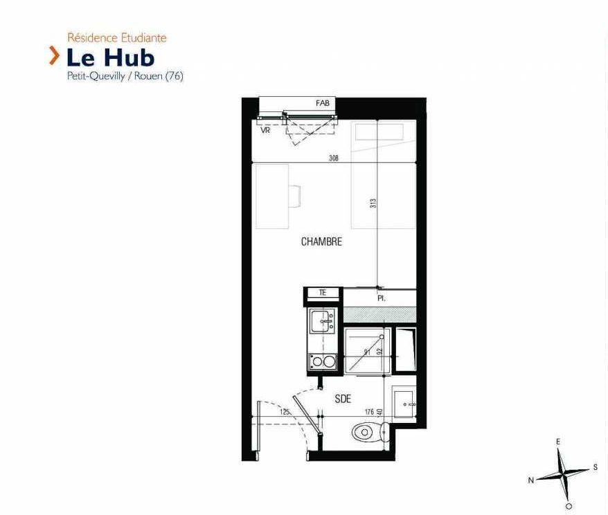 Plan 302, appartement neuf type T1 au 3ème étage, faisant 18m² du programme neuf Le Hub à Le Petit-Quevilly.