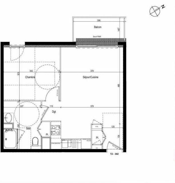 Plan 302, appartement neuf type T2 au 3ème étage, faisant 43m² du programme neuf Les Boréales à Rouen.