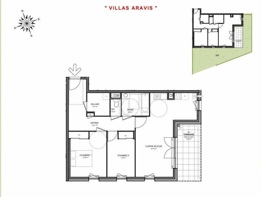 Plan 302, appartement neuf type T3 au Rez de jardin, orienté Sud faisant 70m² du programme neuf Villas Aravis à Saint-Pierre-en-Faucigny.
