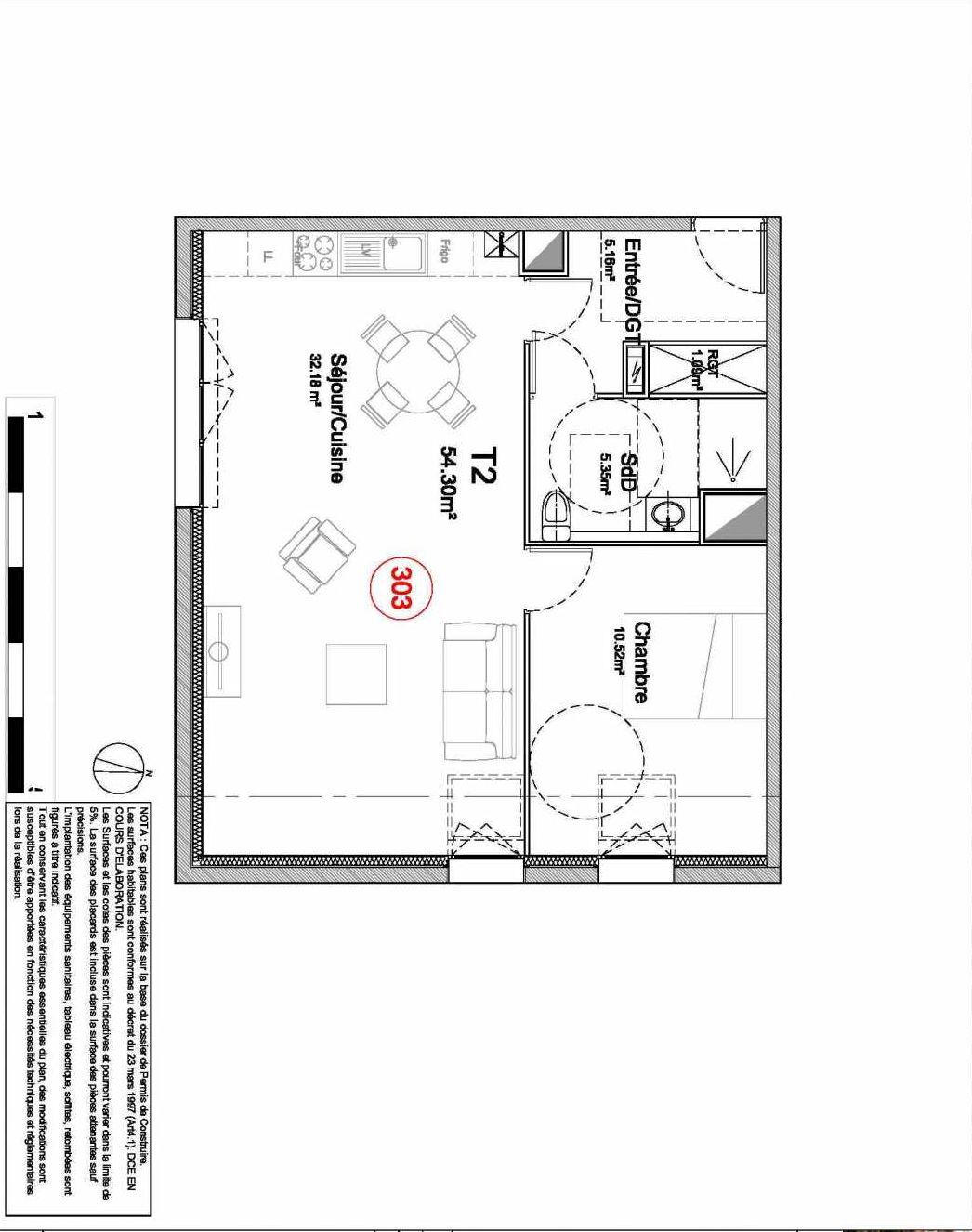 Plan 303, appartement neuf type T2 au 3ème étage, orienté Sud du programme neuf 194 OUEST AVENUE à Déville-lès-Rouen.