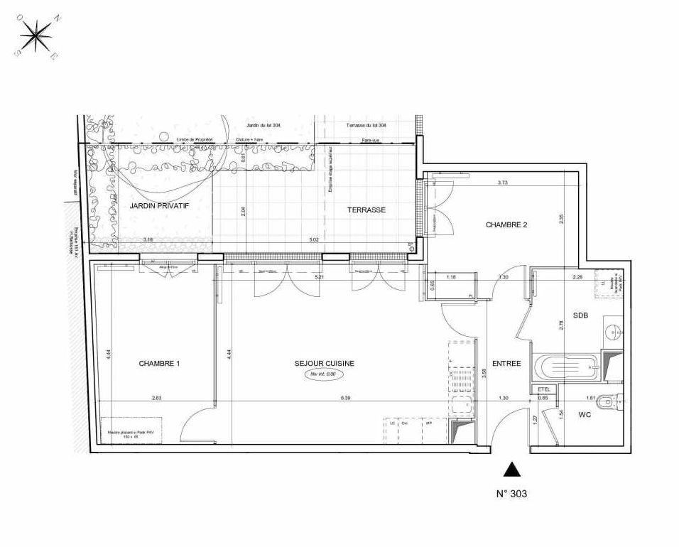 Plan 303, appartement neuf type T3 au Rez de jardin, orienté Nord faisant 64m² du programme neuf Arboria à Drancy.