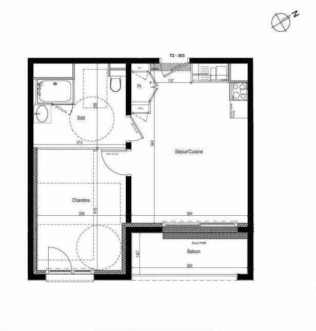 Plan 303, appartement neuf type T2 au 3ème étage, faisant 40m² du programme neuf Les Boréales à Rouen.