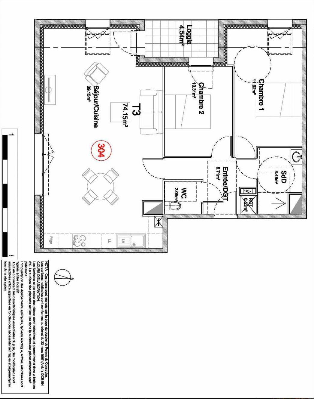 Plan 304, appartement neuf type T3 au 3ème étage, orienté Sud faisant 74m² du programme neuf 194 OUEST AVENUE à Déville-lès-Rouen.
