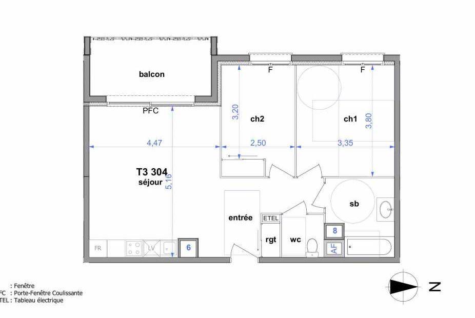 Plan 304, appartement neuf type T3 au 3ème étage, orienté Ouest faisant 60m² du programme neuf Au fil de l'O1 à Maromme.