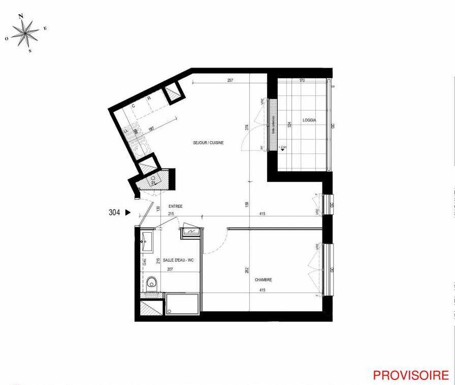 Plan 304, appartement neuf type T2 au 3ème étage, orienté Sud faisant 43m² du programme neuf L'Exception à Nantes.
