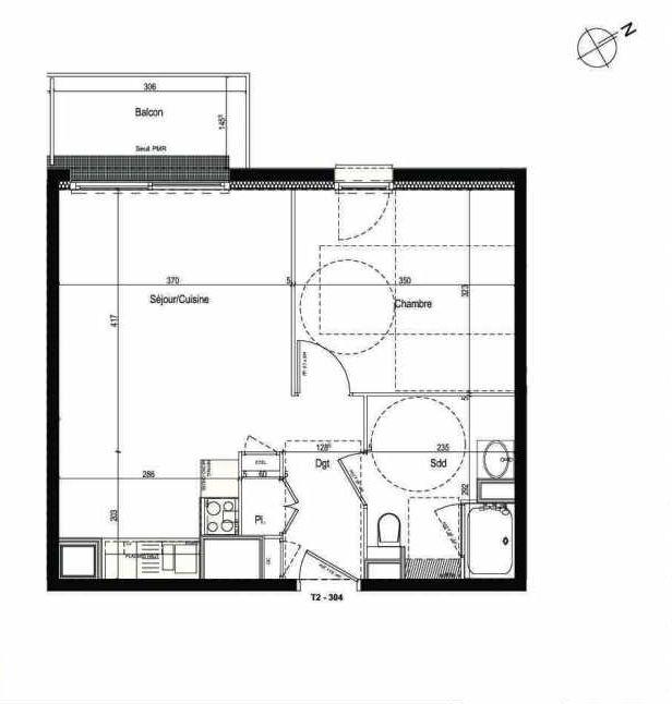Plan 304, appartement neuf type T2 au 3ème étage, faisant 42m² du programme neuf Les Boréales à Rouen.