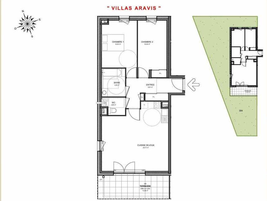 Plan 304, appartement neuf type T3 au Rez de jardin, orienté Sud faisant 71m² du programme neuf Villas Aravis à Saint-Pierre-en-Faucigny.