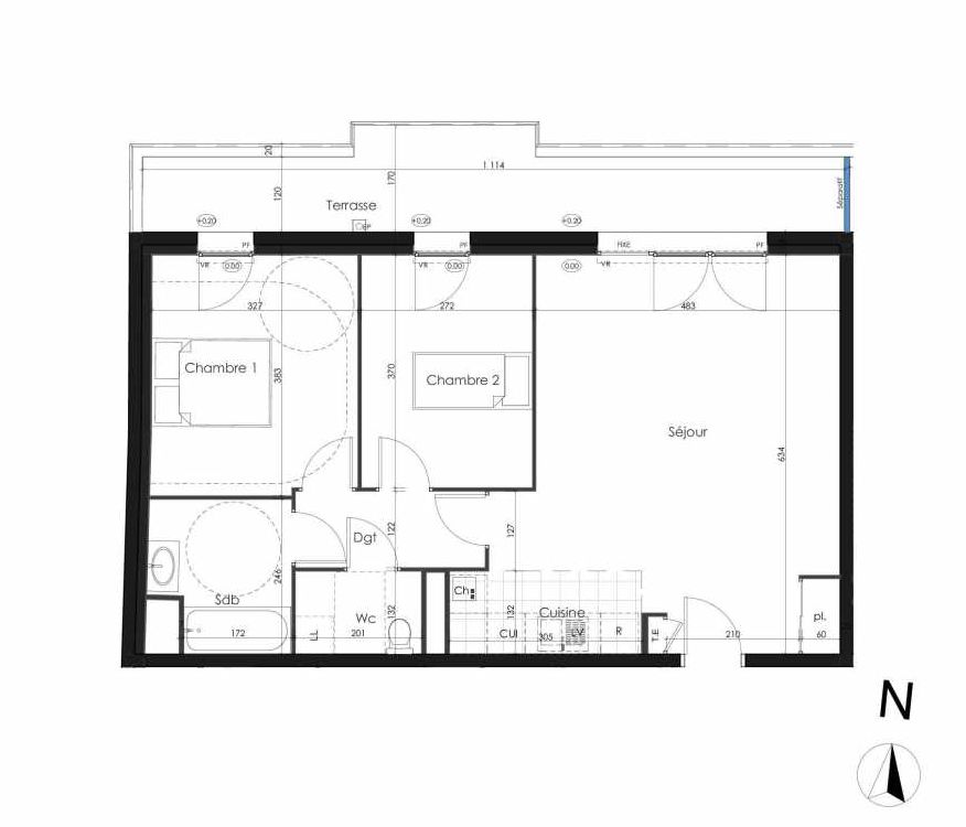Plan 304, appartement neuf type T3 au 3ème étage, orienté Nord faisant 67m² du programme neuf Zenithude à Caen.
