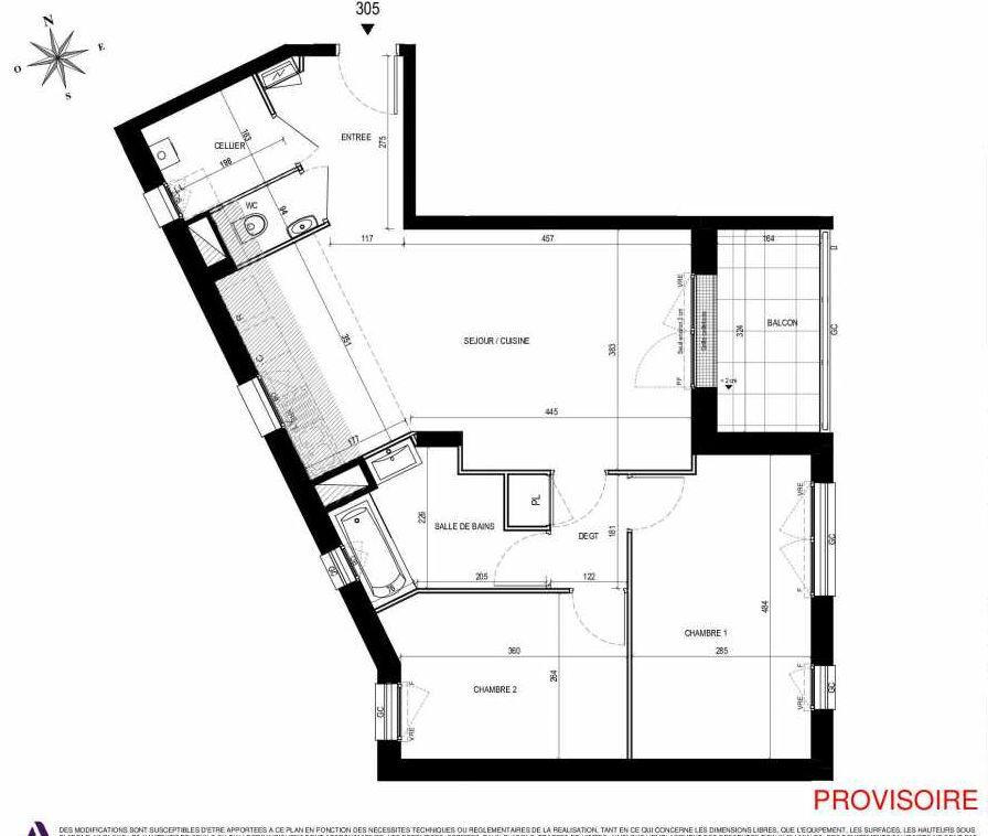 Plan 305, appartement neuf type T3 au 3ème étage, orienté Sud faisant 66m² du programme neuf L'Exception à Nantes.