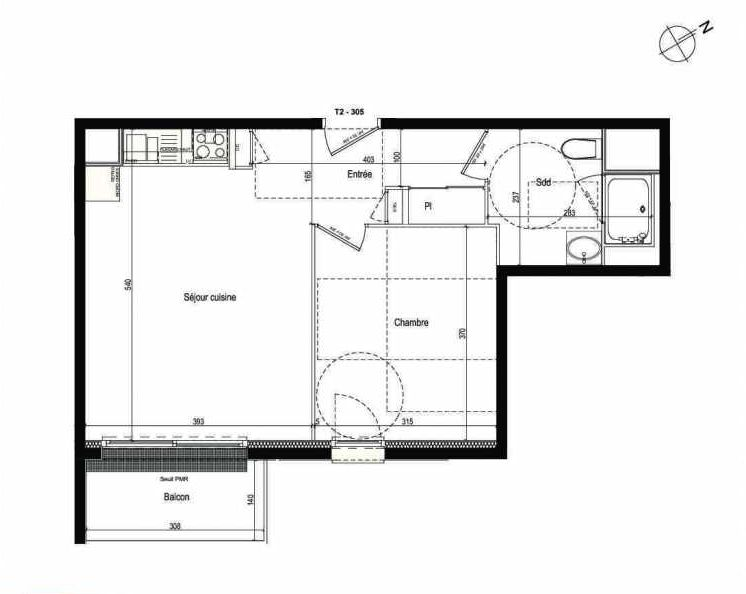 Plan 305, appartement neuf type T2 au 3ème étage, faisant 42m² du programme neuf Les Boréales à Rouen.