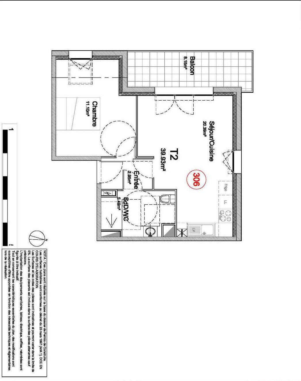 Plan 306, appartement neuf type T2 au 3ème étage, orienté Ouest du programme neuf 194 OUEST AVENUE à Déville-lès-Rouen.
