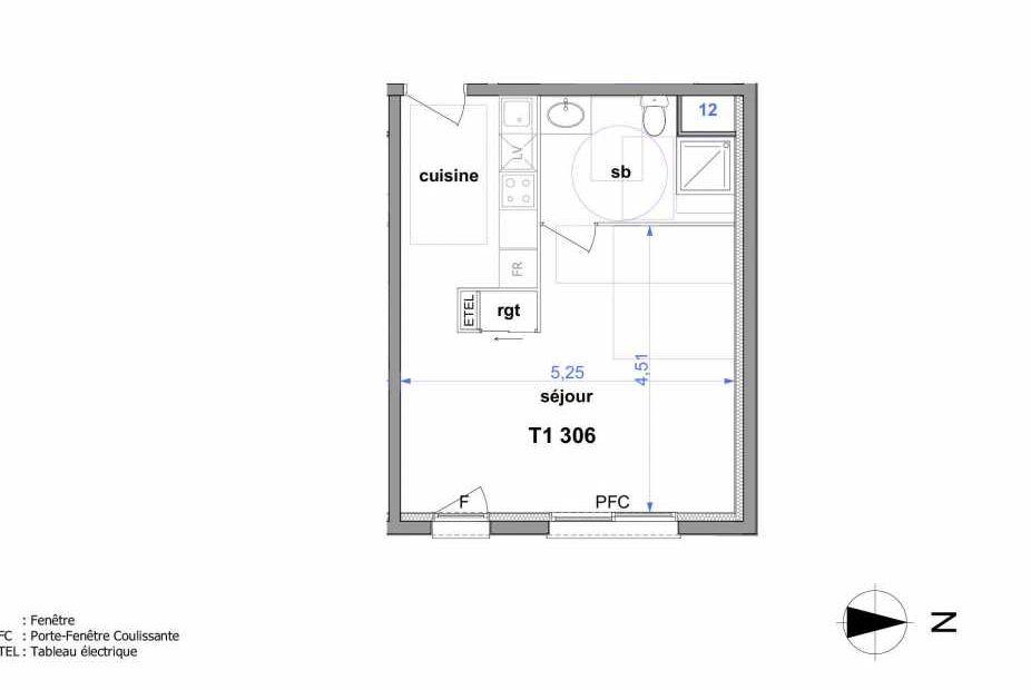 Plan 306, appartement neuf type T1 au 3ème étage, orienté Est faisant 33m² du programme neuf Au fil de l'O1 à Maromme.