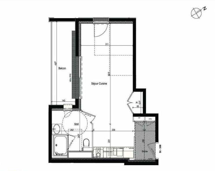 Plan 306, appartement neuf type T1 au 3ème étage, faisant 32m² du programme neuf Les Boréales à Rouen.