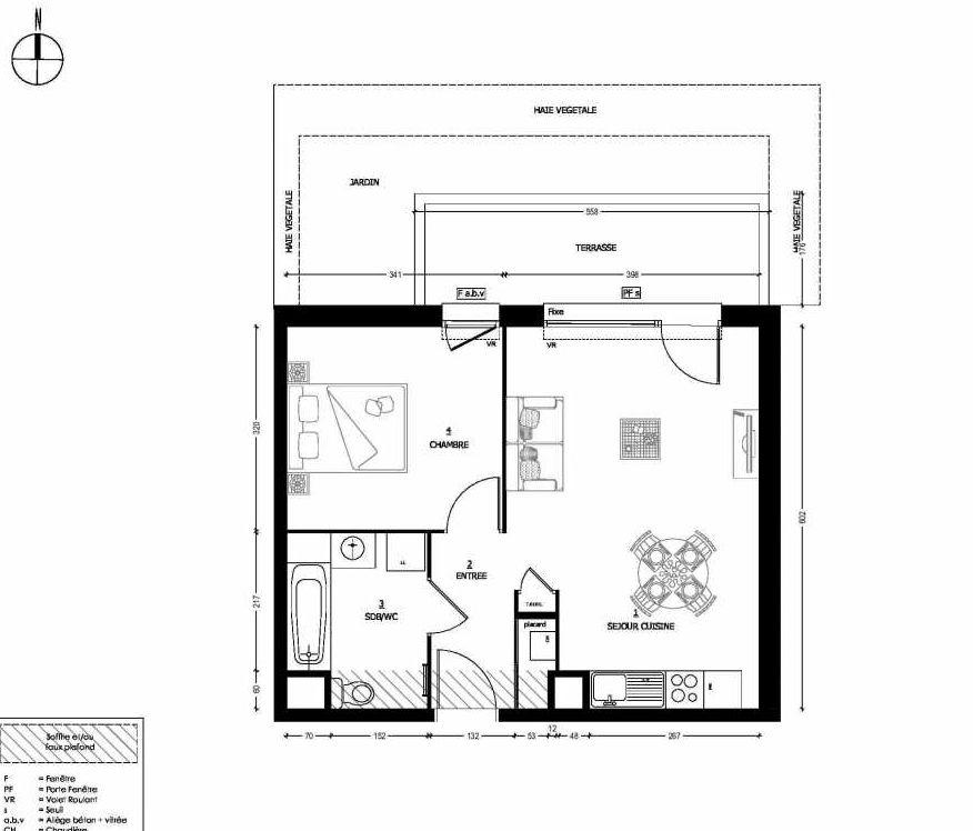 Plan 306, appartement neuf type T2 au Rez de chaussée, orienté Nord faisant 43m² du programme neuf RESIDENCE CARMINA BÂTIMENT C à Saint-Baldoph.