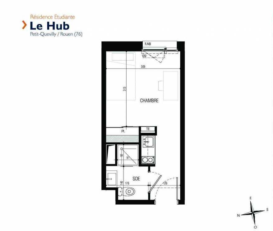 Plan 307, appartement neuf type T1 au 3ème étage, faisant 18m² du programme neuf Le Hub à Le Petit-Quevilly.