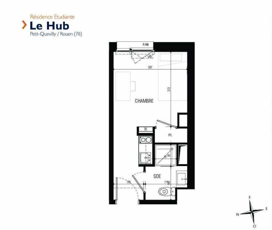 Plan 308, appartement neuf type T1 au 3ème étage, faisant 17m² du programme neuf Le Hub à Le Petit-Quevilly.