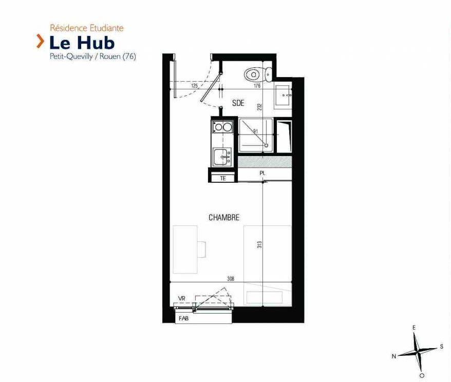 Plan 309, appartement neuf type T1 au 3ème étage, faisant 18m² du programme neuf Le Hub à Le Petit-Quevilly.