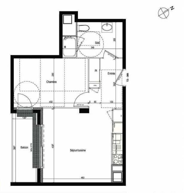 Plan 309, appartement neuf type T2 au 3ème étage, faisant 43m² du programme neuf Les Boréales à Rouen.