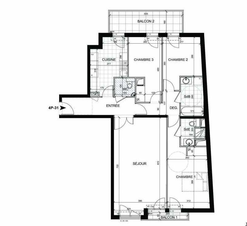 Plan 31, appartement neuf type T4 au 3ème étage, faisant 93m² du programme neuf BOULOGNE CONFIDENTIEL à Boulogne-Billancourt.