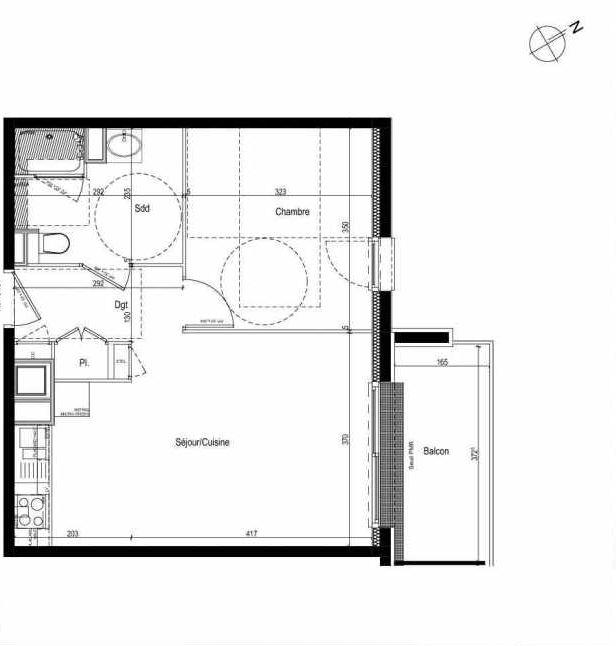 Plan 310, appartement neuf type T2 au 3ème étage, faisant 43m² du programme neuf Les Boréales à Rouen.
