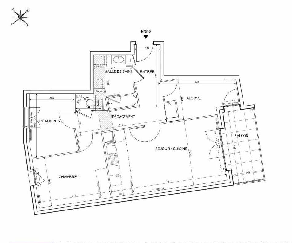 Plan 310, appartement neuf type T3 au 3ème étage, orienté Sud faisant 72m² du programme neuf Westmont à Rueil-Malmaison.