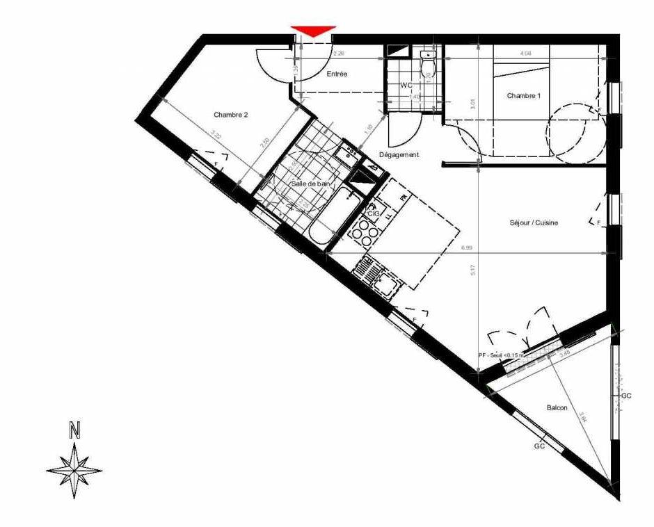 Plan 3101, appartement neuf type T3 au 1er étage, orienté Sud faisant 62m² du programme neuf CITY PARK CAGE 3 à Gonesse.