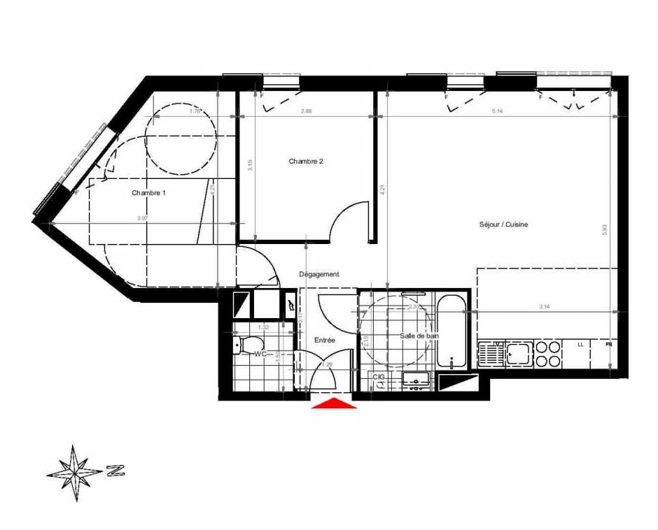 Plan 3102, appartement neuf type T3 au 1er étage, orienté Ouest faisant 61m² du programme neuf CITY PARK CAGE 3 à Gonesse.