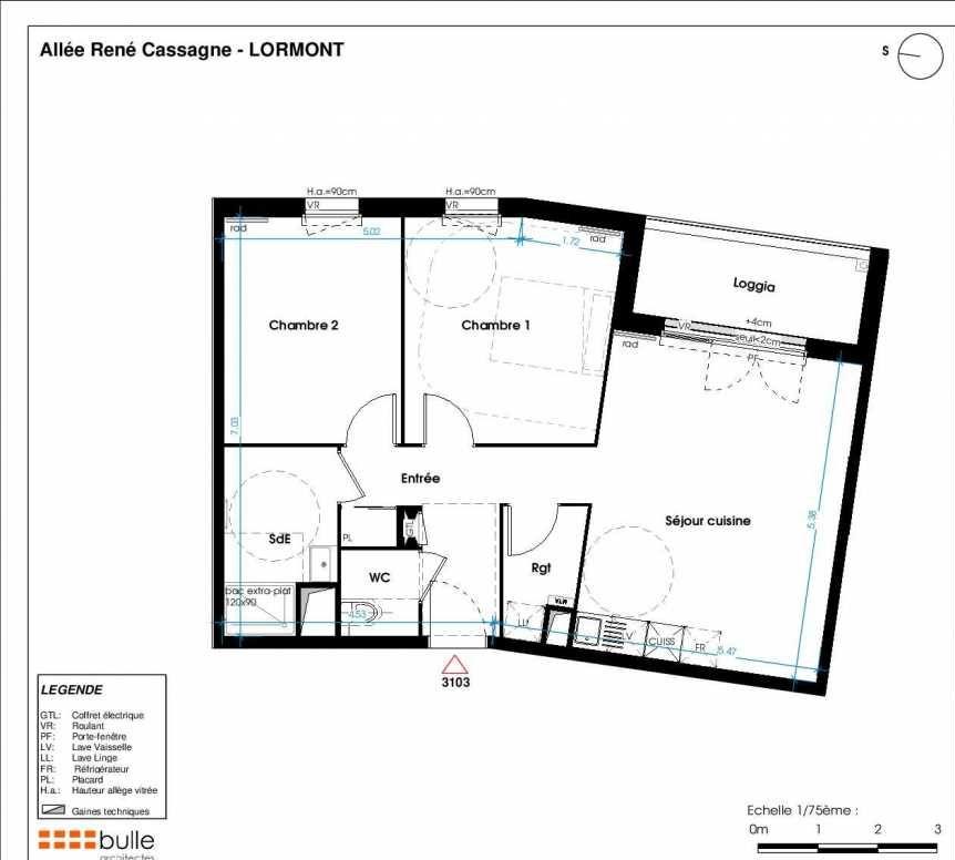 Plan 3103, appartement neuf type T3 au 1er étage, orienté Ouest faisant 64m² du programme neuf LES JARDINS D'ANAIS BOTERO à Lormont.