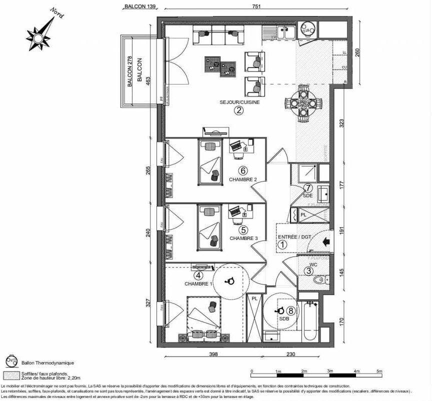 Plan recadré CÔTÉ FAUBOURG BATIMENT 3 -  46 LGTS