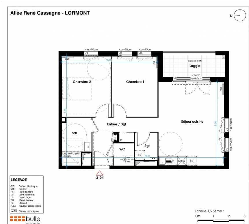 Plan 3104, appartement neuf type T3 au 1er étage, orienté Ouest faisant 63m² du programme neuf LES JARDINS D'ANAIS BOTERO à Lormont.