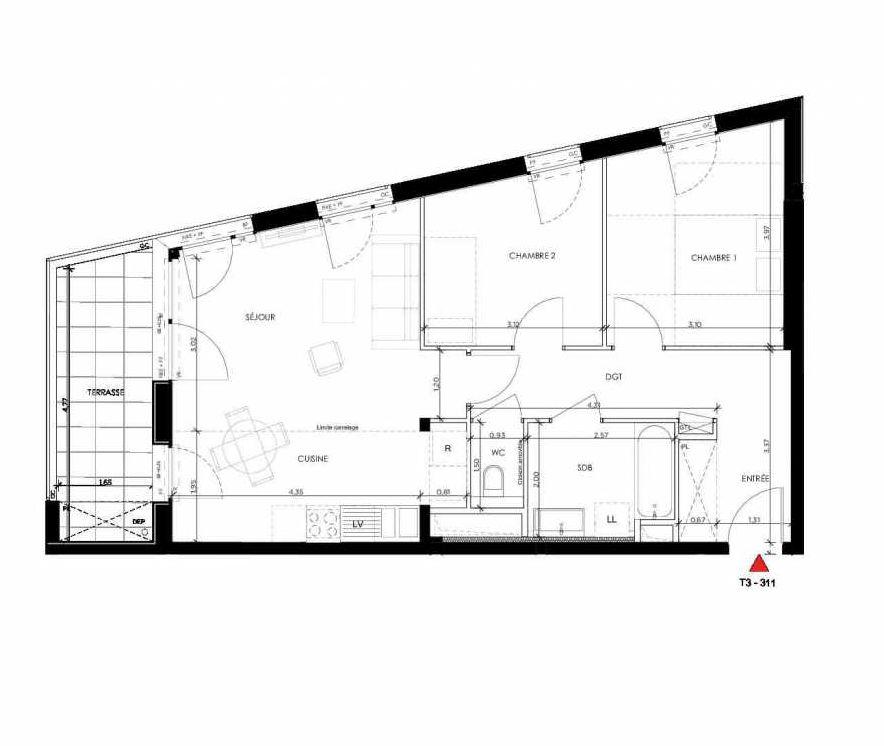 Plan 311, appartement neuf type T3 au 1er étage, orienté Nord faisant 64m² du programme neuf 2 PRIEURE BATIMENT 3 à Saint-Germain-en-Laye.