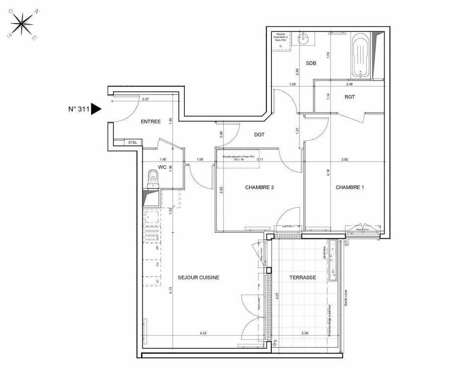 Plan 311, appartement neuf type T3 au 1er étage, orienté Nord faisant 65m² du programme neuf Arboria à Drancy.