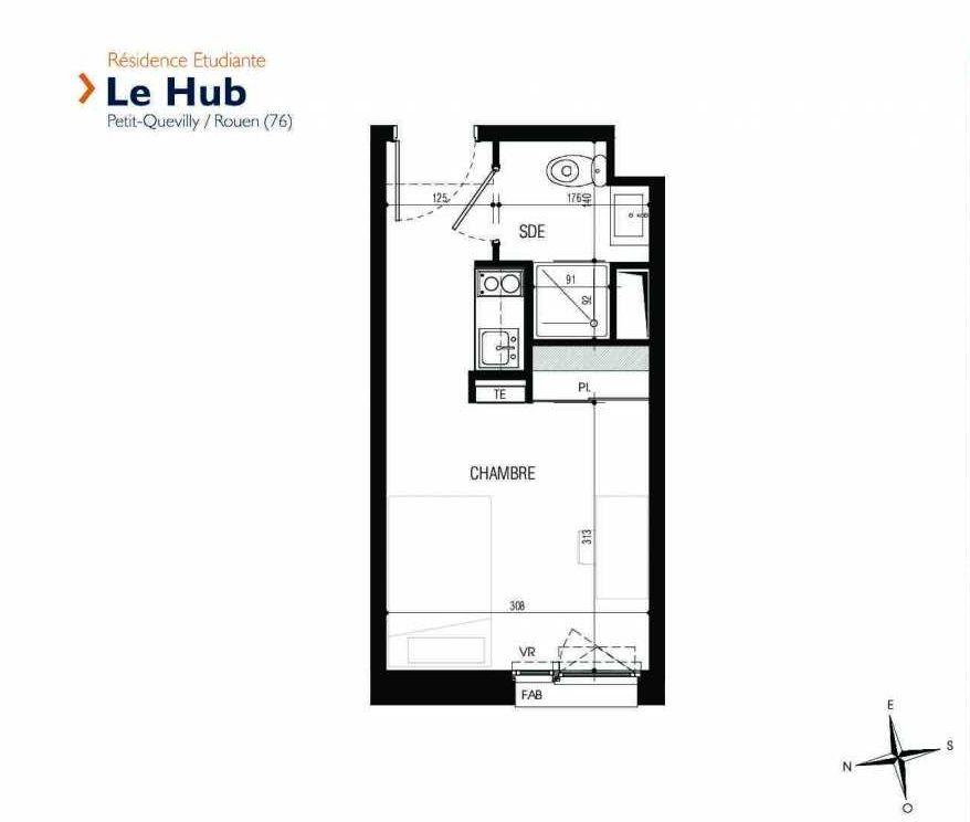 Plan 311, appartement neuf type T1 au 3ème étage, faisant 18m² du programme neuf Le Hub à Le Petit-Quevilly.