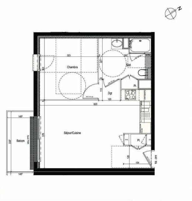 Plan 311, appartement neuf type T2 au 3ème étage, faisant 43m² du programme neuf Les Boréales à Rouen.