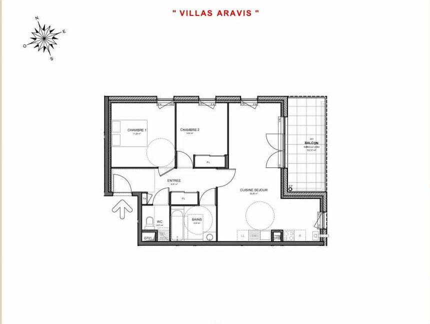 Plan 311, appartement neuf type T3 au 1er étage, orienté Est faisant 63m² du programme neuf Villas Aravis à Saint-Pierre-en-Faucigny.