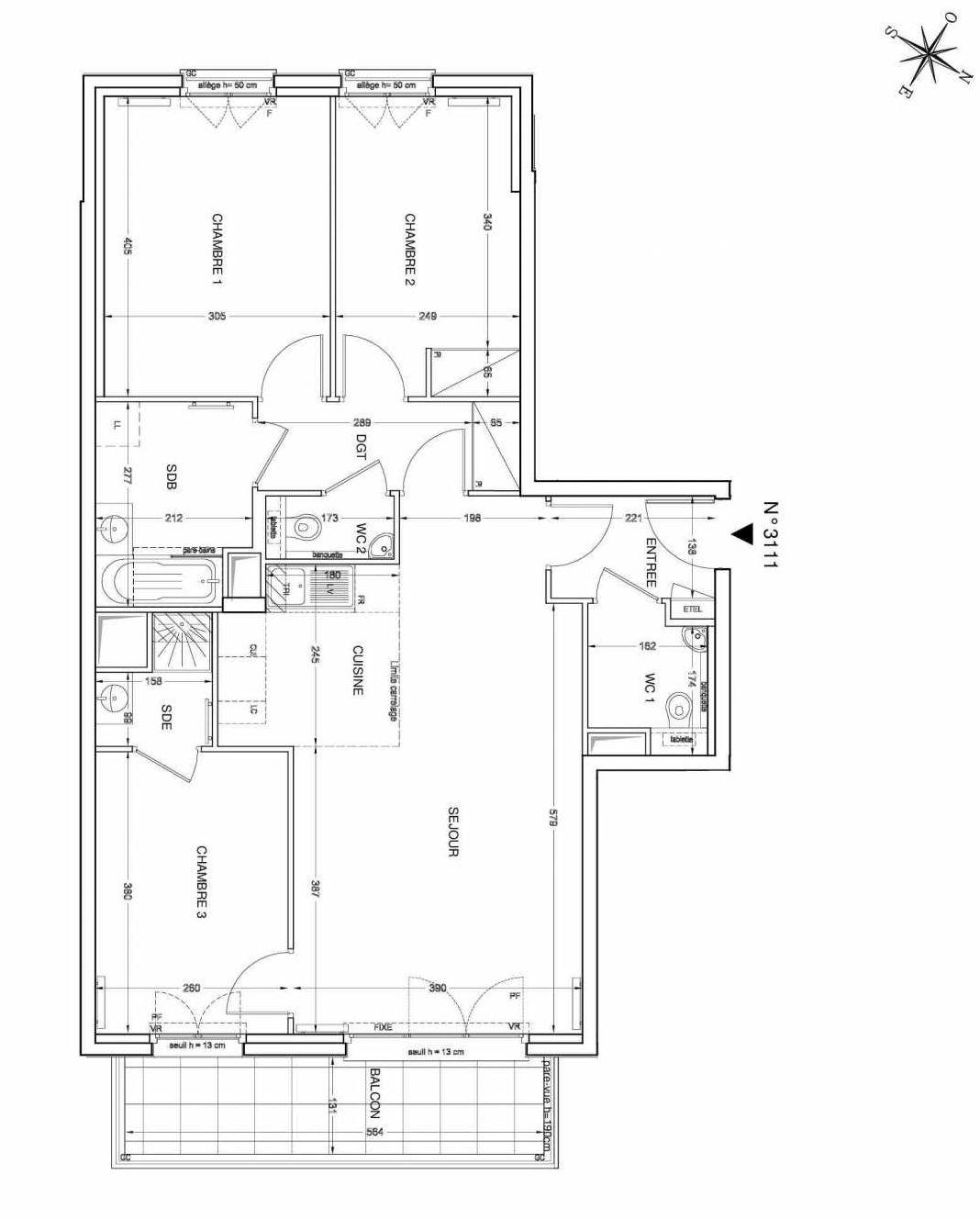 Plan 3111, appartement neuf type T4 au 1er étage, faisant 80m² du programme neuf UNANIME à Clichy.