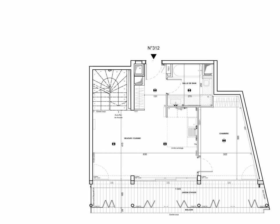 Plan 312, appartement neuf type T3 au 1er étage, faisant 96m² du programme neuf 122 Damremont à Paris.