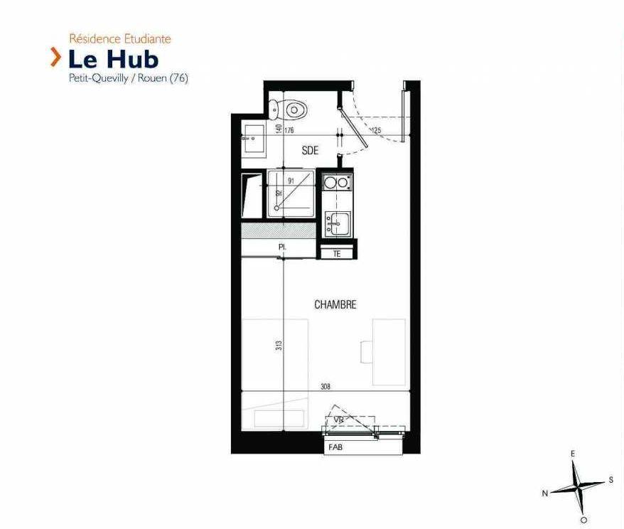 Plan 312, appartement neuf type T1 au 3ème étage, faisant 18m² du programme neuf Le Hub à Le Petit-Quevilly.