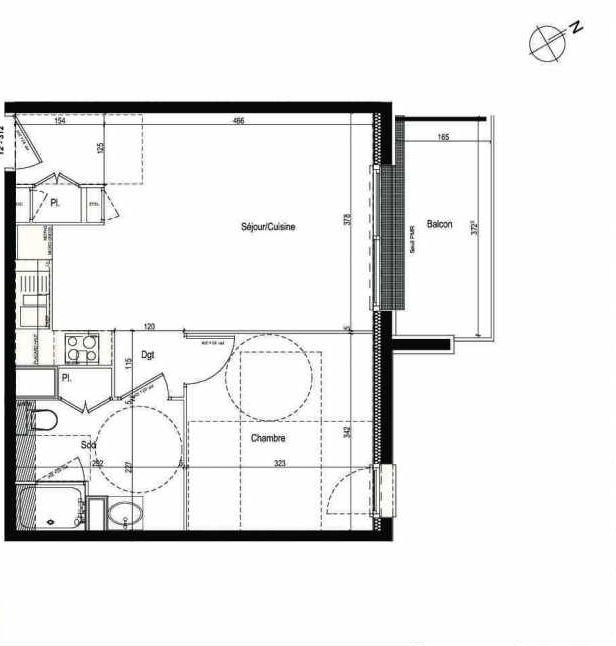 Plan 312, appartement neuf type T2 au 3ème étage, faisant 43m² du programme neuf Les Boréales à Rouen.